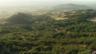 TS01_187 - 1080 stock footage aerial video of trees and hills while flying over the Sonoma Mountains, California