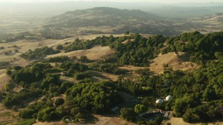 TS01_188 - 1080 stock footage aerial video of rural homes and hills, Sonoma County, California