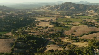 TS01_190 - 1080 stock footage aerial video of rural homes and farms in Bennett Valley, California