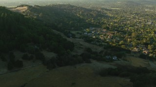 TS01_197 - 1080 stock footage aerial video of approaching rural and hillside homes in Bennett Valley, California