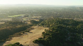 TS01_198 - 1080 stock footage aerial video of a view of suburban neighborhoods seen from hilltop homes in Santa Rosa, California