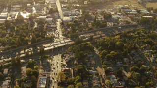 TS01_200 - Aerial stock footage of 1080 aerial  video of Highway 101 and College Avenue, Santa Rosa, California