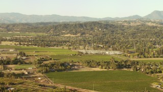 TS01_202 - 1080 stock footage aerial video of farms and homes in Santa Rosa, California
