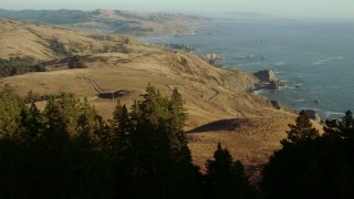 TS01_203 - 1080 stock footage aerial video of flying over trees toward hills and a coastal road on the California Coast