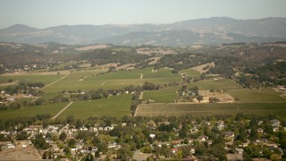 TS01_226 - 1080 stock footage aerial video of farm fields and vineyards in Santa Rosa, California