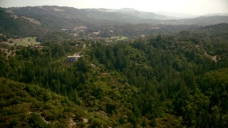 TS01_227 - 1080 stock footage aerial video of a hilltop mansion in Santa Rosa, California