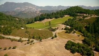 TS01_230 - 1080 aerial stock footage video of approaching vineyard and home in Santa Rosa, California