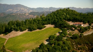 TS01_231 - 1080 stock footage aerial video fly over vineyard and home toward hills in Santa Rosa, California