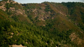 TS01_239 - 1080 stock footage aerial video of approaching a mountain slope in The Palisades, California