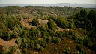 TS01_240 - 1080 stock footage aerial video fly over a ridge to reveal rural homes in The Palisades, California