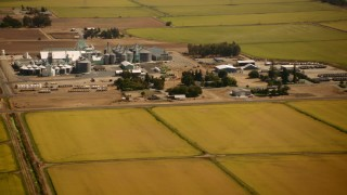 TS01_278 - 1080 stock footage aerial video of a dairy farm and crop fields in Pleasant Grove, California