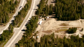 TS01_296 - 1080 stock footage aerial video of a bird's eye view of Interstate 80, Soda Springs, California