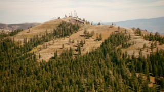 TS01_300 - 1080 stock footage aerial video of ski lifts at the top of a mountain in Sugar Bowl, California