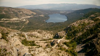 TS01_302 - 1080 stock footage aerial video of flying over Donner Pass toward Donner Lake, California