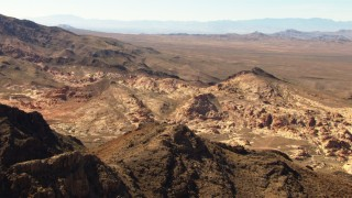TS02_05 - 1080 stock footage aerial video of red sandstone rock formations in the Valley of Fire, Nevada
