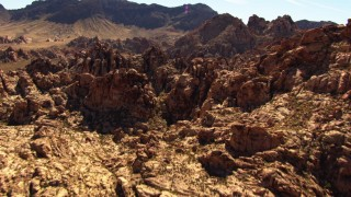 TS02_09 - 1080 stock footage aerial video of flying over rock formations in the desert, Valley of Fire, Nevada