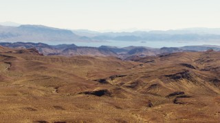 TS02_12 - 1080 stock footage aerial video of Lake Mead seen from Muddy Mountains, Valley of Fire, Nevada