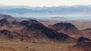 TS02_16 - 1080 stock footage aerial video of Lake Mead seen from the Muddy Mountains, Valley of Fire, Nevada