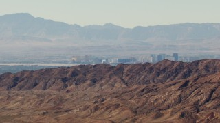 TS02_23 - 1080 aerial stock footage video of the Las Vegas Strip seen from the Frenchman Range, Nevada