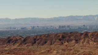 TS02_26 - 1080 aerial stock footage video of the Las Vegas Strip seen from mountains, Nevada