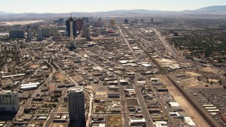 TS02_38 - 1080 stock footage aerial video pan from north end of the Las Vegas Strip to reveal Stratosphere and downtown, Nevada