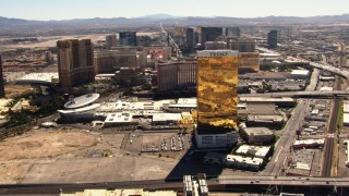 TS02_40 - 1080 stock footage aerial video of flying by Trump Hotel toward more Las Vegas Strip hotels, Nevada