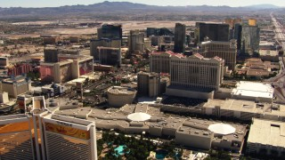 TS02_41 - 1080 stock footage aerial video of flying by famous hotels on the Las Vegas Strip, Nevada