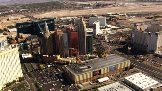 TS02_43 - 1080 stock footage aerial video fly by famous hotels and casinos on the Las Vegas Strip, Nevada