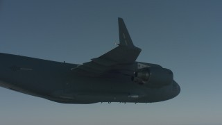 WA001_039 - 4K stock footage aerial video under the wing of a Boeing C-17, Solano County, California