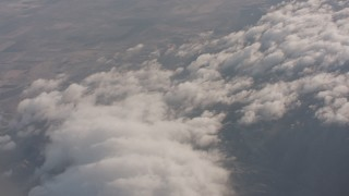 WA002_013 - 4K stock footage aerial video of clouds over the Los Padres National Forest in California