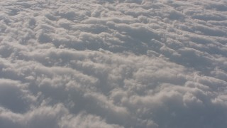 WA002_022 - Aerial stock footage of Reverse view of a layer of clouds over the Central Valley, California
