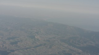 WA003_007 - Aerial stock footage of Fly over Agoura Hills to approach the Santa Monica Mountains, California