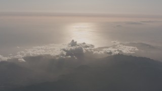 WA003_010 - 4K stock footage aerial video of a view of the Pacific Ocean and coastline from the Santa Monica Mountains, California