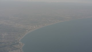 WA003_014 - 4K stock footage aerial video of approaching Santa Monica and the beach on the coast of California
