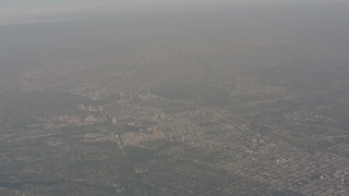WA003_015 - 4K stock footage aerial video of a high altitude view of Downtown Los Angeles, California