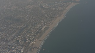 WA003_016 - 4K stock footage aerial video of a bird's eye view of Santa Monica Pier and Venice, California