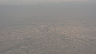 WA003_019 - 4K stock footage aerial video of a high altitude view of Downtown Los Angeles, California