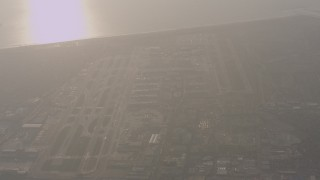 WA003_020 - 4K stock footage aerial video fly away from LAX (Los Angeles International Airport) in California