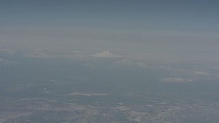 WA004_010 - 4K stock footage aerial video of Mount Shasta in the distance, seen from across Modoc County, California