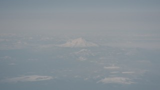 WA004_011 - 4K stock footage aerial video of snowy Mount Shasta, Modoc County, California