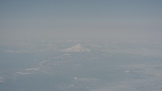 WA004_014 - 4K stock footage aerial video of a view of Mount Shasta from across Modoc County, California