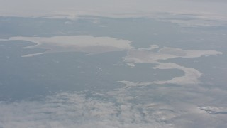 WA004_019 - 4K stock footage aerial video of frozen lakes in Lake County, Oregon