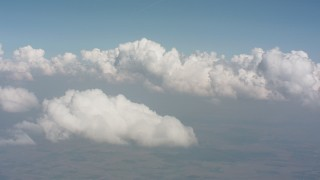 WA005_065 - 4K stock footage aerial video flyby white clouds over Ohio farmland