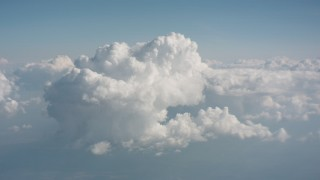 WA005_079 - 4K stock footage aerial video fly toward a large cloud formation over Ohio