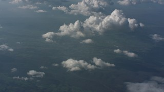 WA005_097 - Aerial stock footage of Tilt from cloud to the mountains below in West Virginia