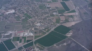 WA007_033 - 4K stock footage aerial video flyby farm fields around San Jacinto, California