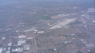 WA007_035 - 4K stock footage aerial video approach the the March Joint Air Reserve Base, Riverside, California