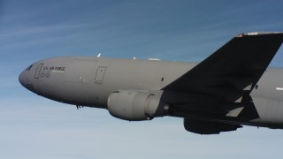 WAAF03_C010_0118QW - 4K stock footage aerial video of a McDonnell Douglas KC-10 and blue skies in Northern California