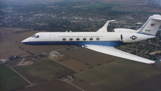 WAAF08_C057_0120EN - 4K stock footage aerial video of a Gulfstream C-37A, with a view of rural areas in Northern California
