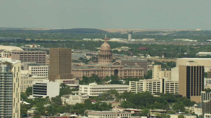 HD stock footage aerial video of a view of the Texas State Capitol building in Downtown Austin, Texas Aerial Stock Footage | AF0001_000105